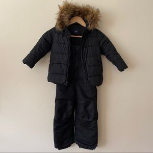 Kids Unisex Snow Ski Suit & Jacket Black Zip Up